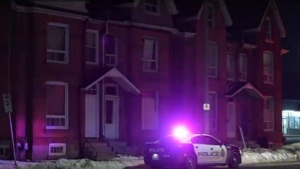 A Hamilton police cruiser is shown at the scene of a suspicious circumstances investigation on Wellington Street North early Wednesday morning. (Andrew Collins)