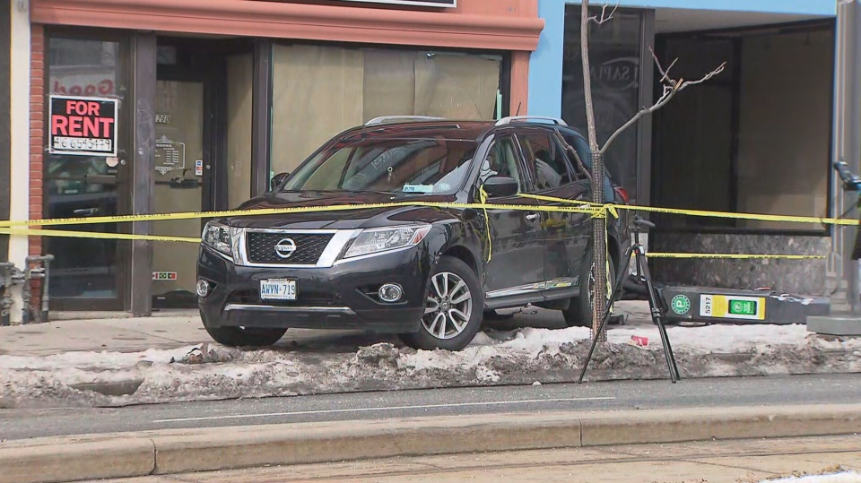 A woman has serious injuries and two children have minor injuries after a vehicle hit them on St. Clair Avenue West, near Dufferin Street.