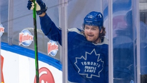 Toronto Maple Leafs centre William Nylander (88) celebrates his game winning goal in overtime NHL action against the Calgary Flames in Toronto on Wednesday, February 24, 2021. THE CANADIAN PRESS/Frank Gunn
