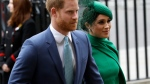 In this Monday, March 9, 2020 file photo, Britain's Harry and Meghan the Duke and Duchess of Sussex arrive to attend the annual Commonwealth Day service at Westminster Abbey in London. (AP Photo/Kirsty Wigglesworth, file)