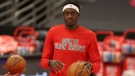Toronto Raptors' Pascal Siakam warms up in a special Black History Month shirt prior to an NBA basketball game against the Minnesota Timberwolves, Sunday, Feb. 14, 2021, in Tampa, Fla. (AP Photo/Mike Carlson)