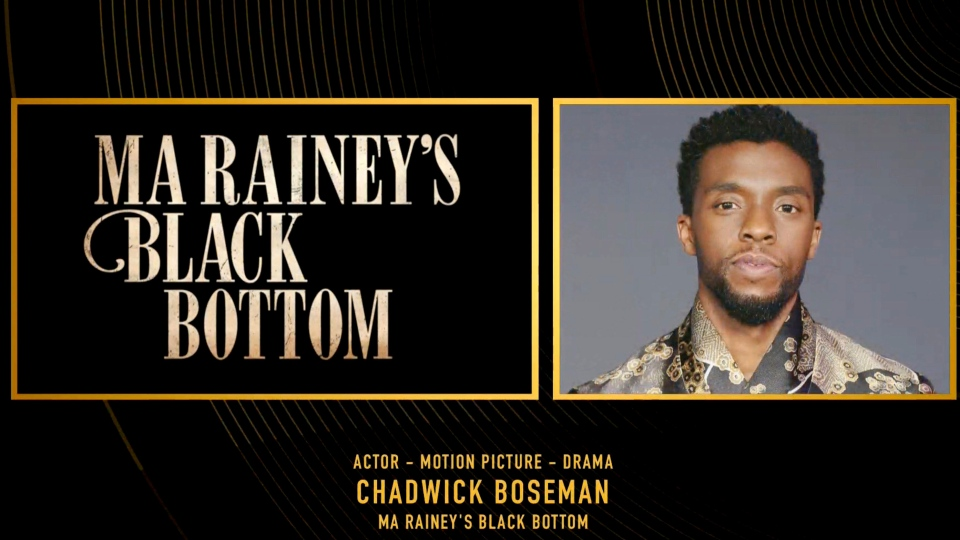 "In this video grab issued Sunday, Feb. 28, 2021, by NBC, the late actor Chadwick Boseman, winner of the award for best actor in a motion picture drama for ""Ma Rainey's Black Bottom,"" is pictured on screen at the Golden Globe Awards. (NBC via AP)"