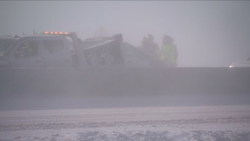 Crews respond to a multi-vehicle pileup on Highway 400 in Barrie Monday March 1, 2020.