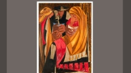 """This image provided by Peabody Essex Museum of Salem, Mass., shows a 1956 painting """"Immigrants admitted from all countries: 1820 to 1840—115,773,"""" by Black American artist Jacob Lawrence. The painting is panel 28 from a private collection of a 30-panel series by Lawrence titled """"Struggle: From the History of the American People."""" The panel had been missing for more than sixty years, but the museum said Tuesday, March 2, 2021, it had been discovered in New York and will join a national exhibition tour of the series. The locations of three other missing panels remain unknown. (The Jacob and Gwendolyn Knight Lawrence Foundation/Artists Rights Society/Peabody Essex Museum via AP)"""