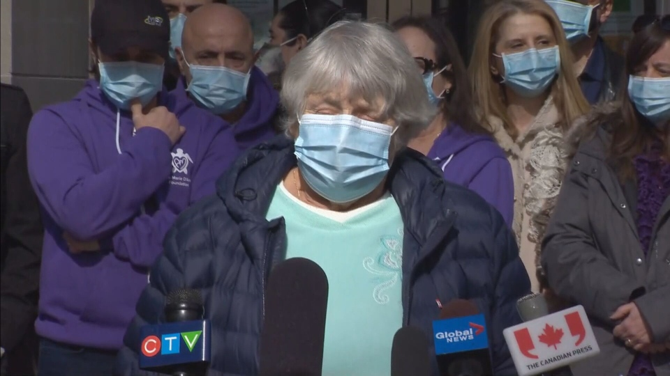 Yonge Street van attack victim Cathy Riddell speaks with reporters on Wednesday following the guilty verdict in the case.