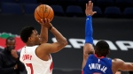 Toronto Raptors guard Kyle Lowry (7) shoots over Detroit Pistons guard Dennis Smith Jr. (0) during the second half of an NBA basketball game Wednesday, March 3, 2021, in Tampa, Fla. (AP Photo/Chris O'Meara)