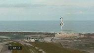In this image from video made available by SpaceX, one of the company's Starship prototypes fires its thrusters as it lands during a test in Boca Chica, Texas, on Wednesday, March 3, 2021. SpaceX's futuristic Starship looked like it aced a touchdown Wednesday, but then exploded on the landing pad with so much force that it was hurled into the air. The failure occurred just minutes after SpaceX declared success. (SpaceX via AP)