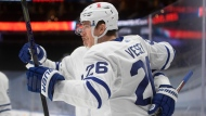 Toronto Maple Leafs' Jimmy Vesey (26) celebrates a goal against the Edmonton Oilers during first period NHL action in Edmonton on Wednesday, March 3, 2021.THE CANADIAN PRESS/Jason Franson