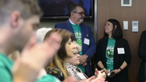 Toby and Bernadine Boulet look at one another as they are recognized during an event for Green Shirt Day and National Organ and Tissue Donation Awareness Week in Ottawa on Wednesday, April 3, 2019. THE CANADIAN PRESS/Sean Kilpatrick