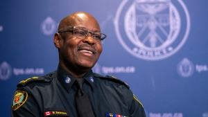 Retiring Toronto Police Chief Mark Saunders is shown during an interview with The Canadian Press in Toronto on Monday, July 27, 2020. THE CANADIAN PRESS/Frank Gunn