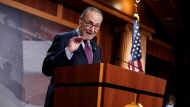 Senate Majority Leader Chuck Schumer of N.Y., speaks during a news conference after the Senate passed a COVID-19 relief bill in Washington, Saturday, March 6, 2021. (AP Photo/J. Scott Applewhite)