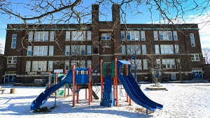 An empty playground in a schoolyard is shown in Toronto on Wednesday, February 3, 2021. THE CANADIAN PRESS/Nathan Denette