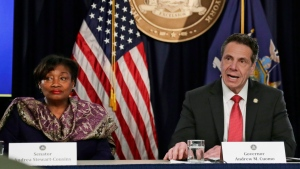 FILE - In this April 4, 2018 file photo, New York Gov. Andrew Cuomo speaks during a news conference in New York with Sen. Andrea Stewart-Cousins, D-Yonkers.(AP Photo/Frank Franklin II, File)