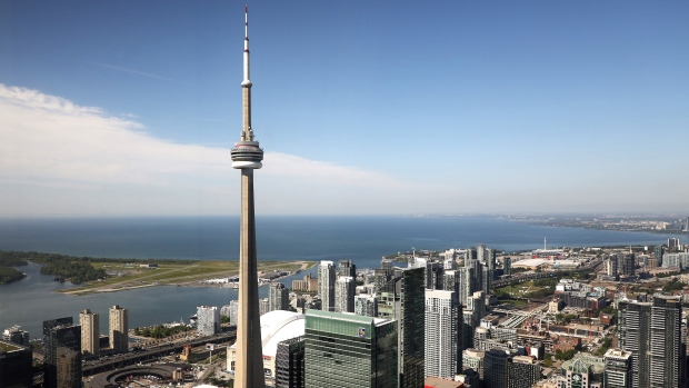 The CN Tower is pictured in Toronto, Wednesday, June 26, 2019. The CN Tower opened 43 years ago today THE CANADIAN PRESS/Colin Perkel