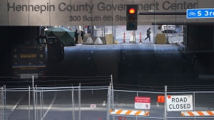 The tunnel on S. 6th Street that goes beneath the Hennepin County Government Center is now closed down to traffic as preparations continue for the murder trial of former Minneapolis police officer Derek Chauvin which begins Monday and was seen near the Hennepin County Government Center Thursday, March 4, 2021 in Minneapolis. (David Joles/Star Tribune via AP)