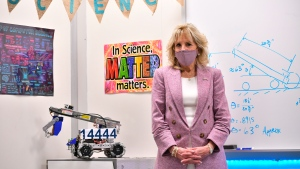 First lady Jill Biden visits a robotics lab as she tours Fort LeBoeuf Middle School in Waterford, Pa., Wednesday, March 3, 2021. (Mandel Ngan/Pool via AP)