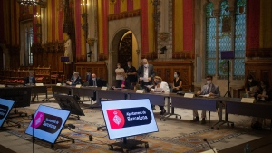 Industry trade group GMSA on Monday announced plans to hold an in-person Mobile World Congress in Barcelona in June. Mobile World Congress meetings will be held in Barcelona until 2024. (David Zorrakino/Europa Press/Getty Images)