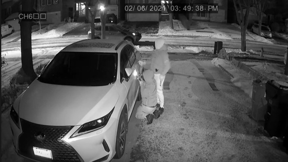 Thieves break into a Lexus in a GTA driveway in this surveillance footage released by York Regional Police. (Handout)