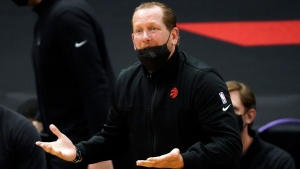 Toronto Raptors head coach Nick Nurse questions a foul call against the Utah Jazz during the first half of an NBA basketball game Friday, March 19, 2021, in Tampa, Fla. (AP Photo/Chris O'Meara)