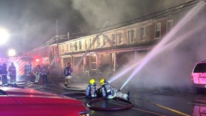 Olive Ave Row house fire