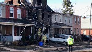 Row house fire