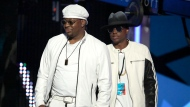 Bobby Brown, left, and his son Bobby Brown Jr. appear at the BET Awards in Los Angeles on June 26, 2016. An autopsy report says that Brown Jr. died from the combined effects of alcohol, cocaine and the opioid fentanyl. The 28-year-old was found dead in his Los Angeles home in November 2020. (Photo by Matt Sayles/Invision/AP, File)