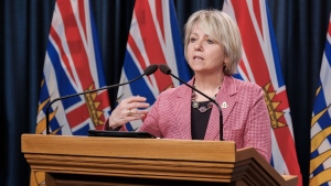 Provincial health officer Dr. Bonnie Henry delivers an update on COVID-19 in B.C. on March 18, 2021.