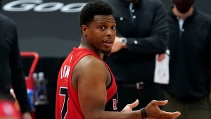 Toronto Raptors guard Kyle Lowry reacts to referee Natalie Sago (9) after he was called for his second technical foul during the second half of an NBA basketball game against the Sacramento Kings Friday, Jan. 29, 2021, in Tampa, Fla. (AP Photo/Chris O'Meara)
