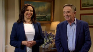 Maya Rudolph played Vice President Kamala Harris and Martin Short played Second Gentleman Doug Emhoff welcoming guests to a Seder on Saturday Night Live.(NBC via CNN)