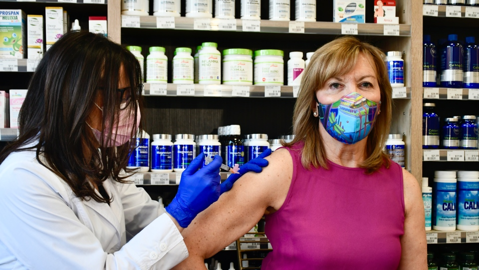 Ontario Health Minister Christine Elliott gets her first dose of the AstraZeneca COVID-19 vaccine on March 29, 2021. (Ontario Ministry of Health)