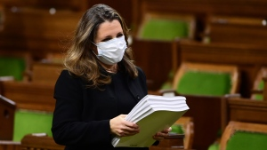 Minister of Finance Chrystia Freeland delivers the 2020 fiscal update in the House of Commons on Parliament Hill in Ottawa on Monday, Nov. 30, 2020. (THE CANADIAN PRESS / Sean Kilpatrick)