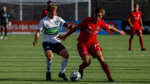Just 20, Jordan Perruzza (right), shown in an Aug.23, 2019 handout photo, is the latest in a line of young Toronto FC strikers looking to make their mark with the MLS team. The homegrown player, who honed his skills in Italy with Empoli's academy, has wasted little time turing heads with TFC's first team. THE CANADIAN PRESS/HO-Toronto FC-Lucas Kschischang MANDATORY CREDIT