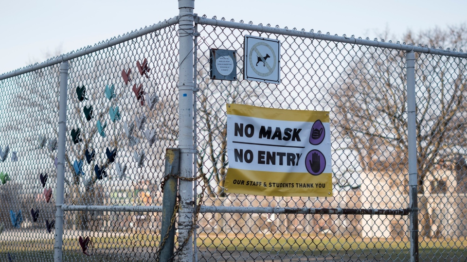 The fence at Regal Road Public School in Toronto is photographed on Wednesday, April 7, 2021. THE CANADIAN PRESS/ Tijana Martin
