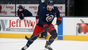 Columbus Blue Jackets' Riley Nash runs a drill during NHL hockey practice, Tuesday, Jan. 5, 2021, in Columbus, Ohio. (AP Photo/Jay LaPrete)