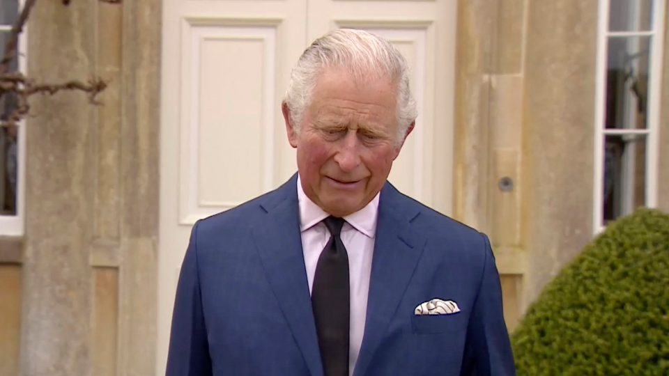 """In this grab taken from video, Britain's Prince Charles addresses the media, outside Highgrove House in Gloucestershire, England, Saturday, April 10, 2021. Britain's Prince Charles says the royal family are """"deeply grateful'' for the outpouring of support they've received following the death of his father, Prince Philip. In a statement to the nation, the heir to the throne says he's touched by the number of people around the world who have shared the family's loss and sorrow. (UK Pool via AP)"""
