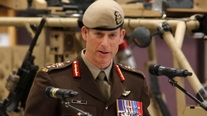 Major-General Peter Dawe speaks at a Canadian Special Operations Forces Command change of command ceremony in Ottawa on Wednesday, April 25, 2018. THE CANADIAN PRESS/ Patrick Doyle