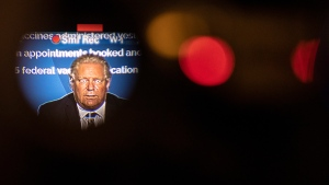 Ontario Premier Doug Ford is seen through the television camera's eye piece as he attends a news conference at the Queens Park Legislature in Toronto on Wednesday, April 7, 2021. The Province announced further lockdown restrictions in their latest effort to combat the spread of the COVID-19 virus. THE CANADIAN PRESS/Chris Young