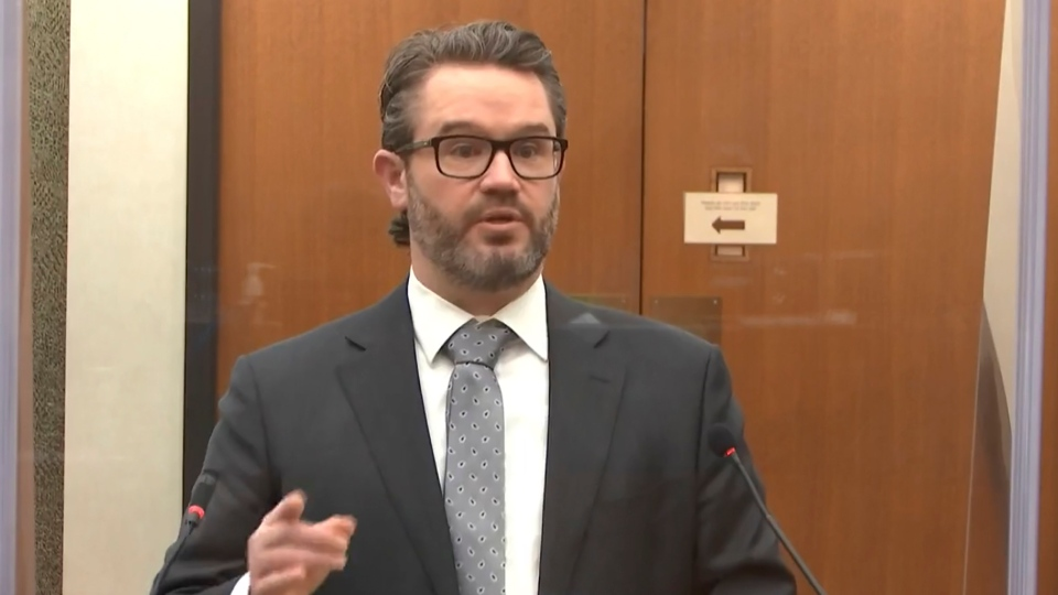 In this image from video, defense attorney Eric Nelson speaks as Hennepin County Judge Peter Cahill discusses motions before the court Tuesday, April 13, 2021, in the trial of former Minneapolis police Officer Derek Chauvin at the Hennepin County Courthouse in Minneapolis. Chauvin is charged in the May 25, 2020 death of George Floyd. (Court TV via AP, Pool)