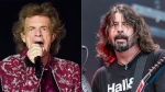 "Musician Mick Jagger of The Rolling Stones performs in East Rutherford, N.J. on Aug. 1, 2019, left, Dave Grohl of the Foo Fighters performs at Pilgrimage Music and Cultural Festival in Franklin, Tenn. on Sept. 22, 2019. Jagger and Grohl have teamed up for a hard-rock pandemic anthem called ""Eazy Sleazy."" The duo recorded the song in different studio locations and the lyrics mention ""prison walls,"" ""virtual premieres,"" numbers that are ""grim"" and Zoom calls. (AP Photo)"