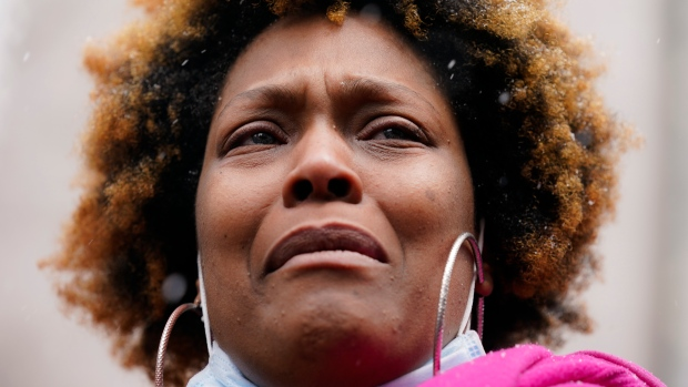 Naisha Wright, aunt of Daunte Wright, speaks during a news conference, Tuesday, April 13, 2021, in Minneapolis. Daunte Wright, 20, was shot and killed by police Sunday after a traffic stop in Brooklyn Center, Minn. (AP Photo/John Minchillo)
