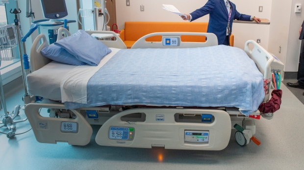 A hospital bed is pictured at Cortellucci Vaughan Hospital run by Mackenzie Health in Vaughan, Ontario on Monday, January 18, 2021. The new hospital is being opened to take patients from other hospitals that are strained by COVID-19. THE CANADIAN PRESS/Frank Gunn