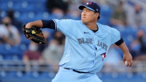 Toronto Blue Jays starting pitcher Hyun Jin Ryu throws to a New York Yankees batter during the second inning of a baseball game Tuesday, April 13, 2021, in Dunedin, Fla. (AP Photo/Mike Carlson)