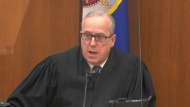 In this image from video, Hennepin County Judge Peter Cahill discusses motions before the court Wednesday, April 14, 2021, in the trial of former Minneapolis police Officer Derek Chauvin at the Hennepin County Courthouse in Minneapolis, Minn. Chauvin is charged in the May 25, 2020 death of George Floyd. (Court TV via AP, Pool)