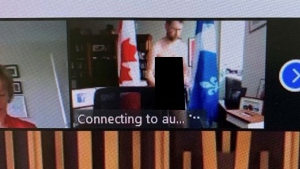 Liberal MP William Amos, top, is shown naked in his office during question period on a video conferencing call in this Wednesday, April 14, 2021 handout photo