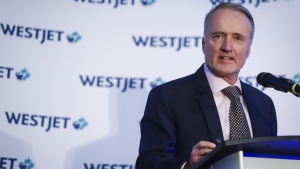 WestJet president and CEO Ed Sims addresses the airline's annual meeting in Calgary, Tuesday, May 7, 2019.THE CANADIAN PRESS/Jeff McIntosh