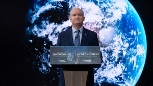 Leader of the Opposition Erin O'Toole announces his parties climate change policy during an event in Ottawa, Thursday April 15, 2021. THE CANADIAN PRESS/Adrian Wyld