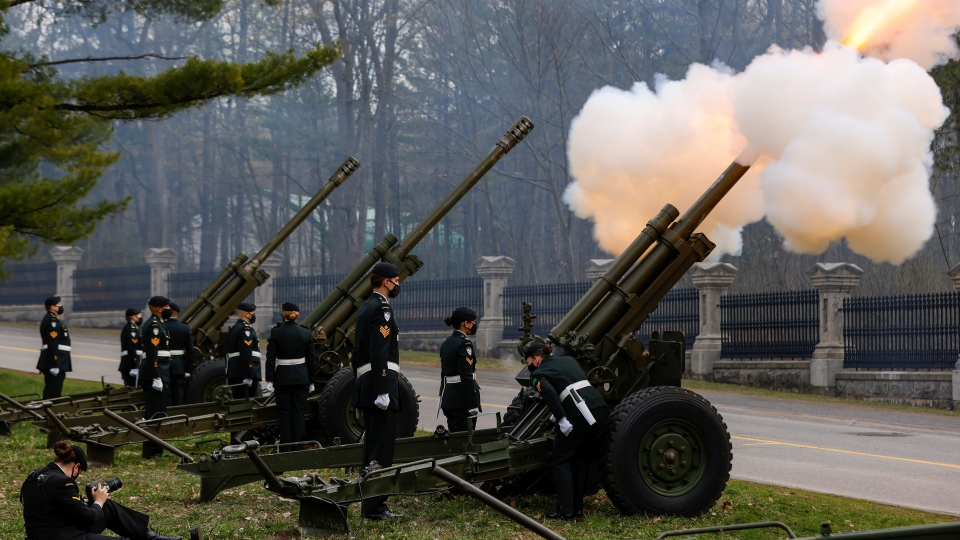 Gunners with 30th Field Artillery Regiment, Royal Canadian Artillery (30 RCA) conduct a gun salute to mark the passing of Britain's Prince Philip, the Duke of Edinburgh, in Ottawa, Saturday April 17, 2021. THE CANADIAN PRESS/POOL-Blair Gable
