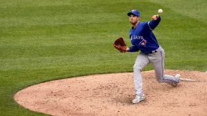 Toronto Blue Jays starting pitcher Steven Matz throws during the sixth inning in the first baseball game of a doubleheader against the Kansas City Royals, Saturday, April 17, 2021, in Kansas City, Mo. (AP Photo/Charlie Riedel)