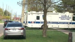 A Peel Regional Police command post is seen at the scene of homicide investigation in Mississauga on April 18, 2021.