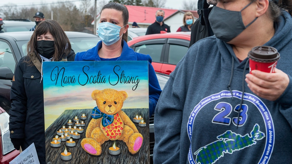 Family and friends of the victims of the April 2020 murder rampage in rural Nova Scotia, gather to walk to the RCMP detachment as they mark the one-year anniversary in Bible Hill, N.S. on Sunday, April 18, 2021.THE CANADIAN PRESS/Andrew Vaughan